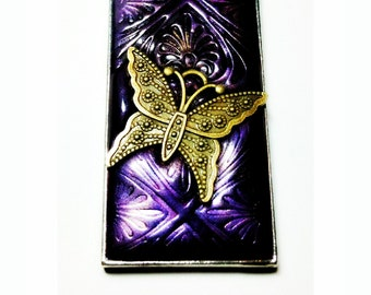 Purple Brass Butterfly Necklace Handmade by Me FREE SHIPPING!