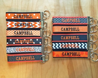 Campbell Key Fob - Campbell Keychain - Campbell Wristlet - Campbell University - Campbell Camels - Black and Orange Key Fob - Graduation