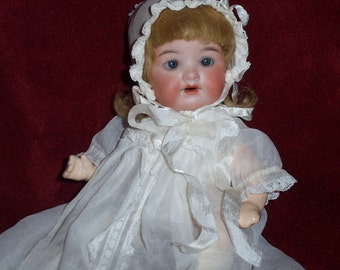 Armand Marseille HAPPY TOT, 7 inches tall, Bisque Head, Composition Body, Blonde Wig, Blue Sleep Eyes  circa 1910 German