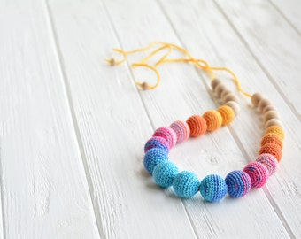 Colorful nursing necklace - Natural teething necklace for breastfeeding & babywearing moms
