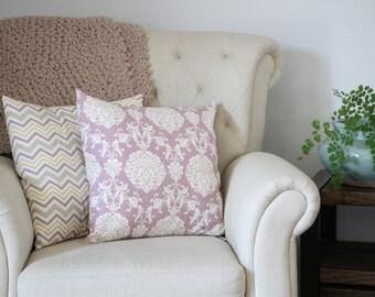 Pillow, Throw Pillow, Accent Pillow, Decorative Pillow Cover, Lavendar Pillow Sham, Lavender, Ikat, Floral, 18x18, Home Decor
