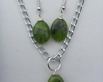 Green Nephrite Jade Pendant and Earrings