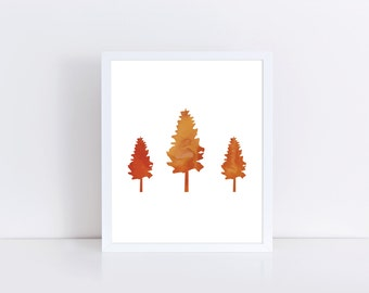 Tree Print, Burnt Orange Art, Home Wall Art, instant Download, Tree Download, Instant Download, Nature Print, Minimalistic Art, Orange Art