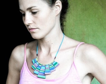 Maasai bead work bib necklace in bright colours