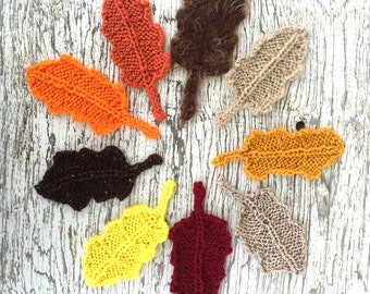 Knit Fall Leaves, Autumn Leaves, Knit Orange, Fall Decor, Fall Coaster Centerpiece Garland, Halloween Decorations, RUSTIC HOME DECOR