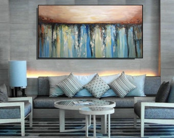 EXTRA Large Wall Art Blue And Beige Brown Abstract Painting Textured Contemporary Living