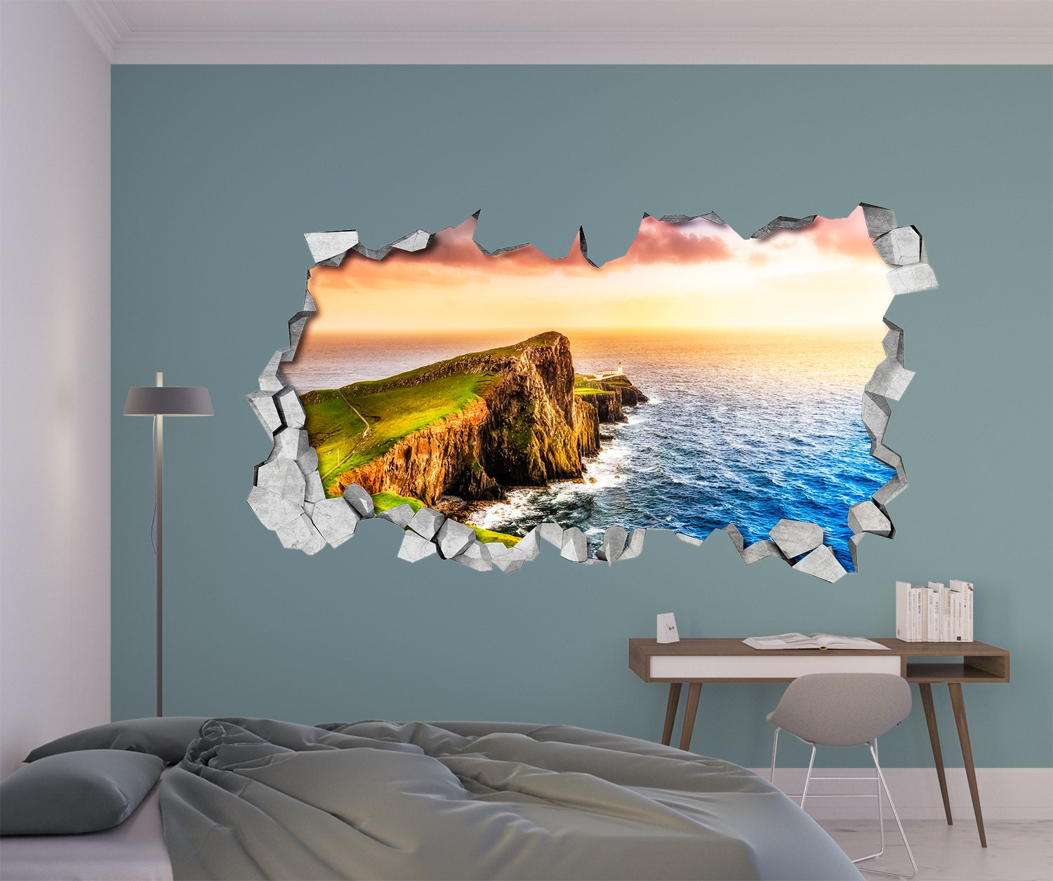 Sunset cliff 3d wall art broken wall 3d wall stickers zoom amipublicfo Image collections