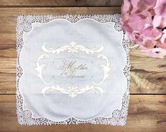 Mother of the groom wedding handkerchief gift, mother handkerchief, wedding handkerchief, gold wedding handkerchief, heirloom handkerchief