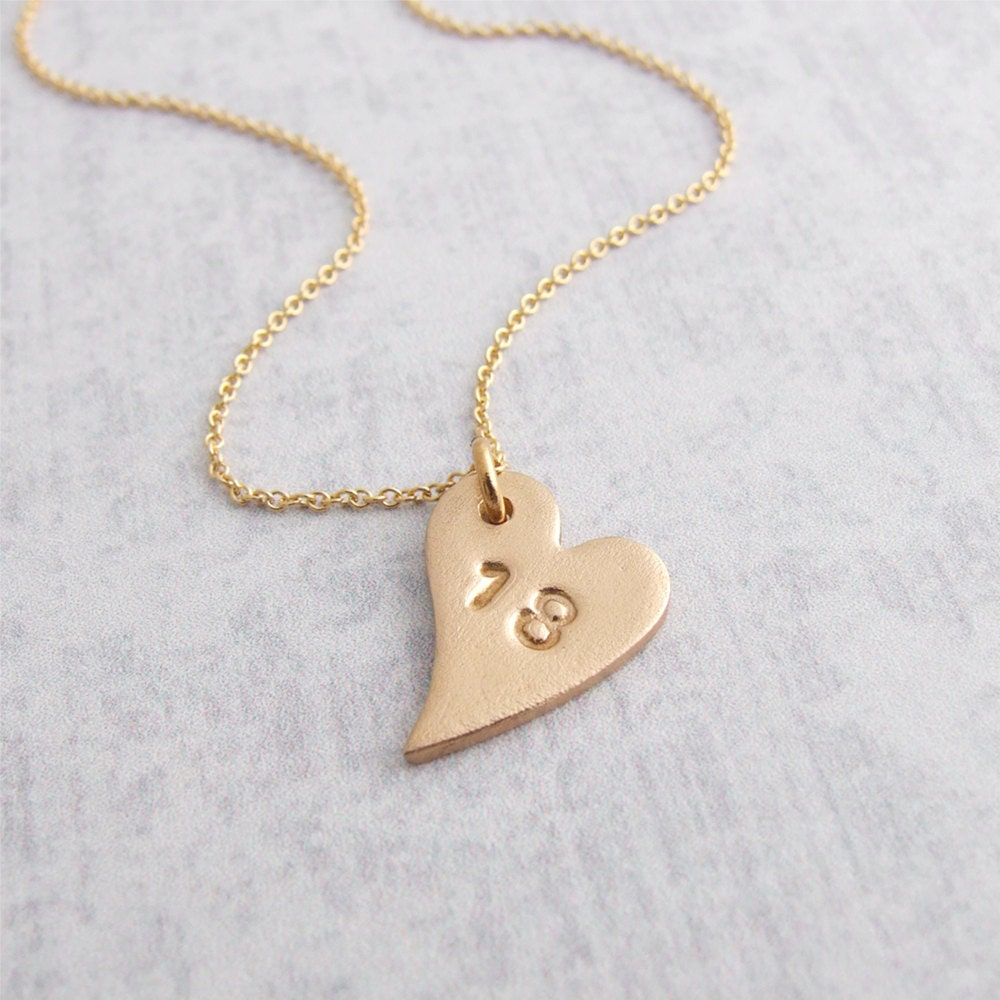 18th Birthday Pendant Necklace Gold Bronze Small Heart