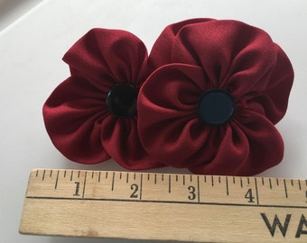 Fabric Double Flower Hair Barrette
