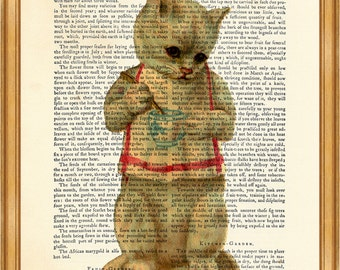 Cat With Tea Cup DICTIONARY ART PRINT on Vintage Dictionary Page 8'' x 10'' from up-cycled book