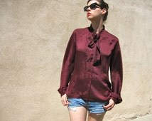 1980s Halston Shirt Tie Bow Neck Button Down Deep Maroon Dark Red Satin Full Pirate Sleeves Disco Top Statement Blouse size Large bust 40