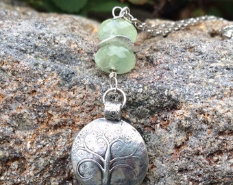 25% OFF Tree of Life Necklace Made with Fine  Silver Large Rhondell Prehnite Gemstones, Reversible Necklace, Puffed Tree of Life Necklace