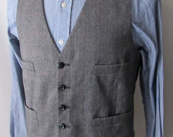 Men's Vintage Wool TWEED Vest ~ 40 / 42 ~ HERRINGBONE Waistcoat ~ Wedding ~ M