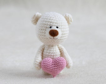 Crochet amigurumi teddy bear with the hearts - small teddy bear, personalized bear gift, birthday bear, Valentine teddy bear MADE TO ORDER