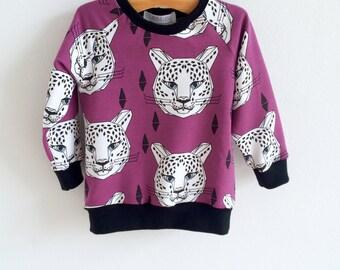 Organic baby sweatshirt, kids sweatshirt, toddler sweatshirt, baby boy sweatshirt, baby girl sweatshirt, leopards, hipster kid