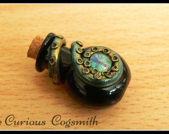 Green & Gold Cthulhu Potion Necklace- Lovecraft Necklace - Tentacle Necklace - Kraken Necklace - Octopus Necklace - Potion Bottle