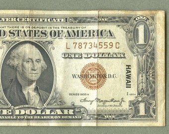 1935A Hawaii WWII Emergency Issue Silver Certificate 1 Dollar Brown Seal EF Condition