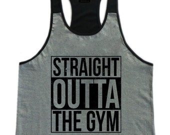 Straight Outta The Gym Mens Workout Gym Stringer Tank Top
