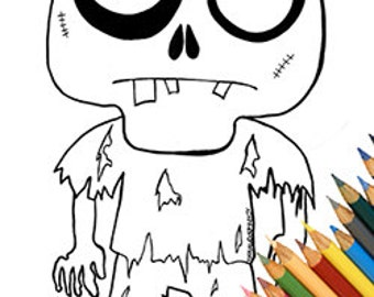 Zombie funny page coloring coloring A4 cute zombie download zombie lovers walking dead zombies simple fun kids children coloring book