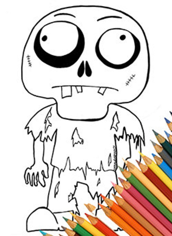 zombie funny page coloring coloring a4 cute zombie download