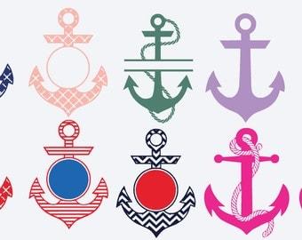 "Anchor Monogram decal, 3.5"" nautical monogram, design your own sticker, personalized Vinyl decal, tumbler sticker, Yeti decal, Glitter"