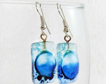 Dark Blue Earrings - Statement Earrings - Fused Glass Jewelry - Light Blue Earrings - Fused Glass Earrings - Bubble Earrings 3380
