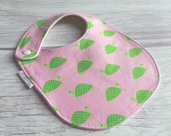 Preppy Turtle Baby Girl Bib / Side Snap Baby Bib / Organic Cotton Fleece / Pink and Green / Turtle Bib
