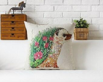 Hedgehog throw pillow case pillow cover