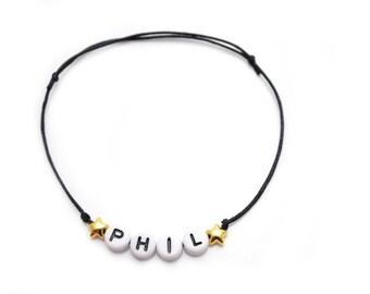 Bracelet Wish name/Word gilded stars