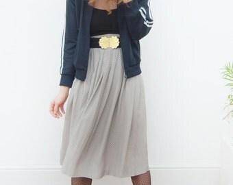 30% Sale! 80's vintage skirt/pleated/spotted/midi length/high waist/polka dots