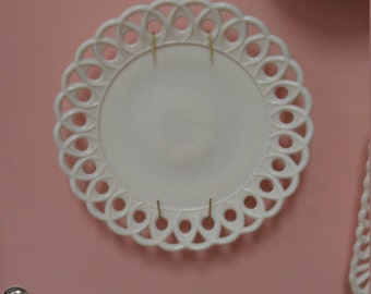Vintage Anchor Hocking Milk Glass Lace Edge Plate!