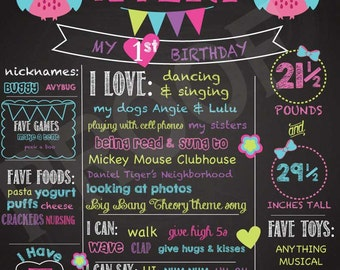 Owl Chalkboard sign Birthday Prop Bright Colors Stats Photo Background Digital Printable Flags