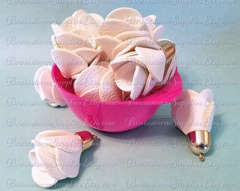 Decorative Tassels - 6 Gorgeous Pale Gold Cap, White Rose Tassels - Flower Tassels For Handbags - Key Chain Tassels For Jewelry - TD-1G03