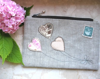 Cosmetic Bag, Carte postale bag, make up bag, bridesmaid clutch