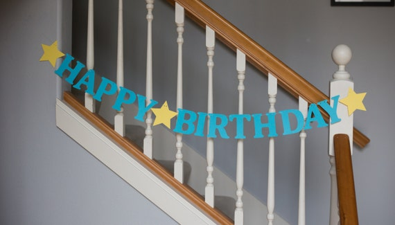 Happy Birthday banner, letters, single color option, stars