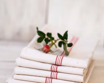 2 Vintage French Tea Towels – Pure Linen – Unused – Red Stripes -  No Monogram - Free Shipping within the USA