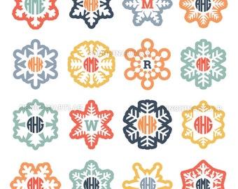 Snow SVG Monogram Frames - Christmas Winter Snowflakes Cut Files for Vinyl Cutting Machines, Cricut, Silhouette, Svg, Dxf, Eps, Png, Studio3