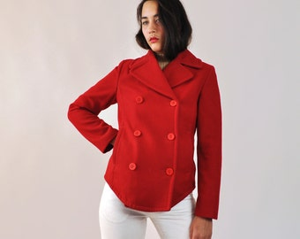 Short Winter Coat, Vintage Red Peacoat, Double Breasted Coat, Womens Peacoat Small, Wool Peacoat Small, Red Short Wool Coat, Benetton