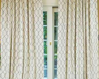 Rico Fabric Curtains, Linen Curtains, Embroidery Geometric Curtains, *Ricco Grey*,Cotton-Linen, Pinch Pleat Curtains, Panels, Up to 10% off.