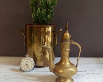 Brass Dallah / Turkish Style Brass Pitcher/ Decorative Brass Pitcher/ Small Brass Pitcher/ Etched Brass Pitcher/ Miniature brass pitcher