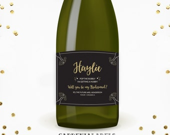 Pop The Bubbly I'm Getting a Hubby Bridesmaid Proposal, Will you be my Bridesmaid Champagne Label, Maid of Honor Ask, Wedding Wine Labels