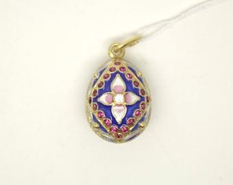 Handmade Enameled Faberge Style Silver Easter Egg /w Glass Charm Pendant