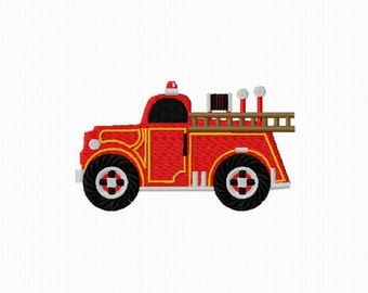 Embroidery of a truck of fireman for machine embroidery 4 x 4 format
