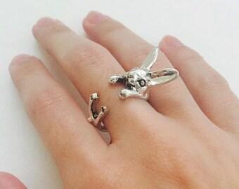 Rabbit wrap ring, Adjustable ring, Animal ring, Silver plating ring, Bunny ring