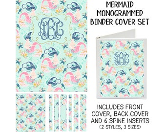 Printable Binder Cover Set - Mermaid - Front & Back Covers and Spine inserts - Dress up Your Three Ring Binder!