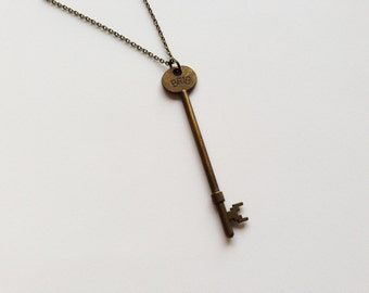LONG KEY Necklace Long Key Jewelry Long Key Gift Key Charm Key Pendant Antique Key Necklace Antique Key Jewelry Antique Key Gift Bronze Key