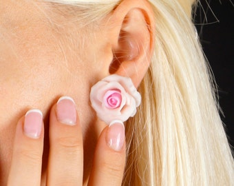 pale pink rose stud earrings,mini roses,flower stud earrings