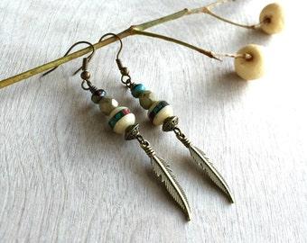 ON SALE 25% Boho earrings   Feather earrings  Bohemian earrings  Rustic earrings