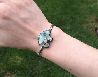 Sterling Silver Turquoise Bear Cuff // Small-Medium